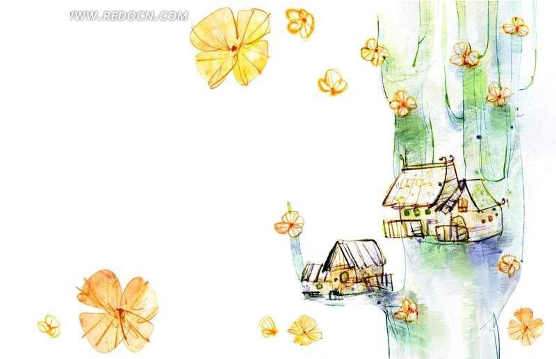 手绘童话房屋