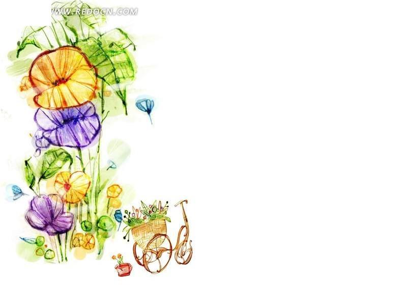 手绘花卉和自行车