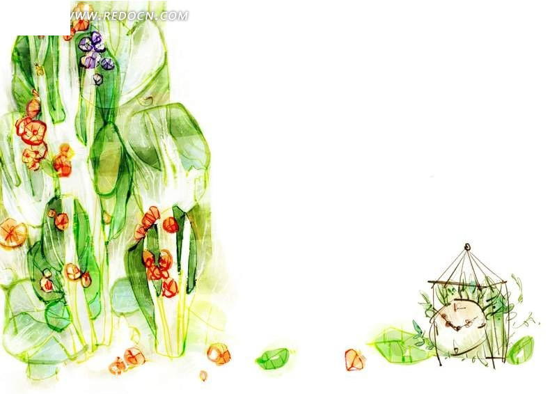 手绘花草素材图片