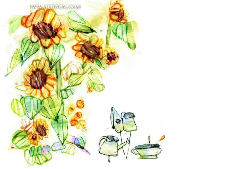 手绘向日葵 向日葵插画