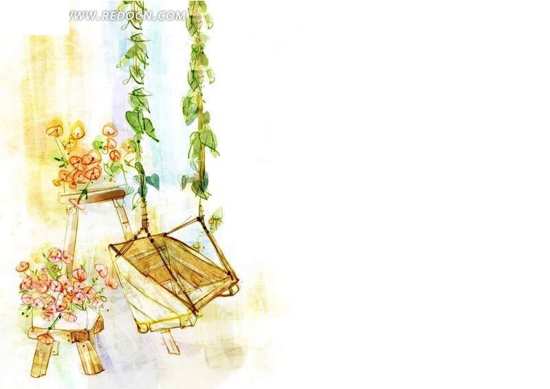 风景 动漫 动画 风景漫画 唯美手绘 设计模板 秋千 花朵 树藤 psd素材