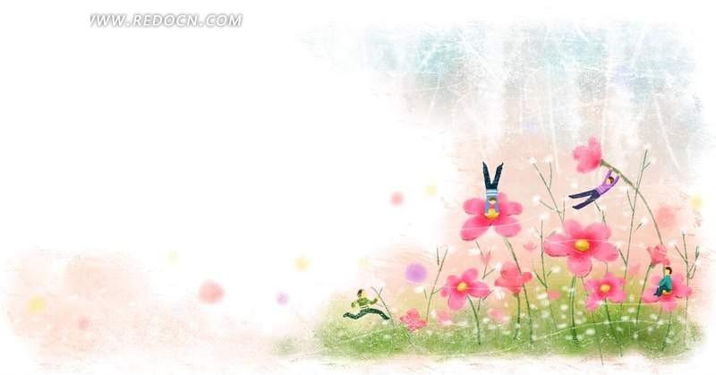 花朵上倒立的小孩卡通psd素材