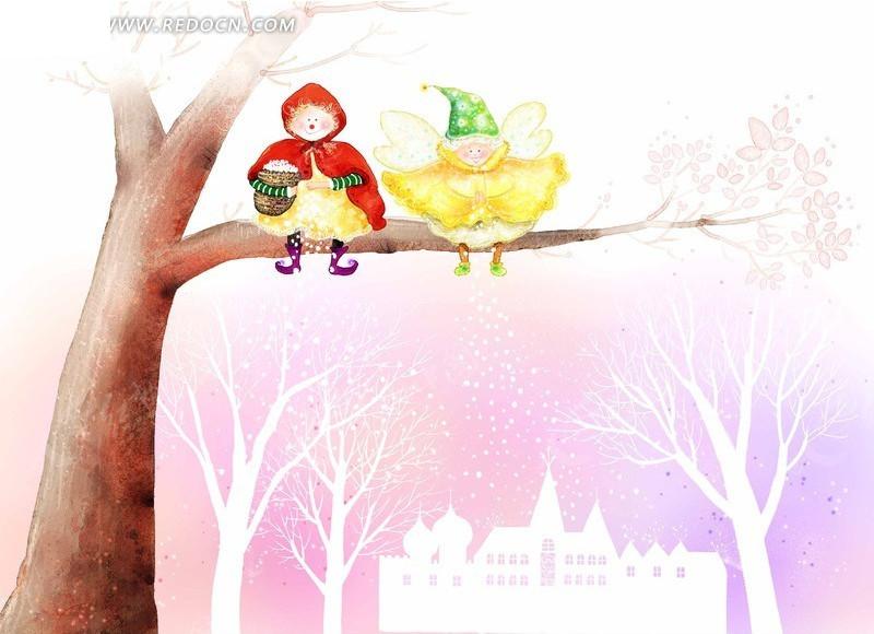 树上的小红帽与精灵手绘插画
