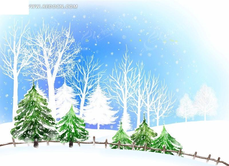 冬日松雪手绘插画