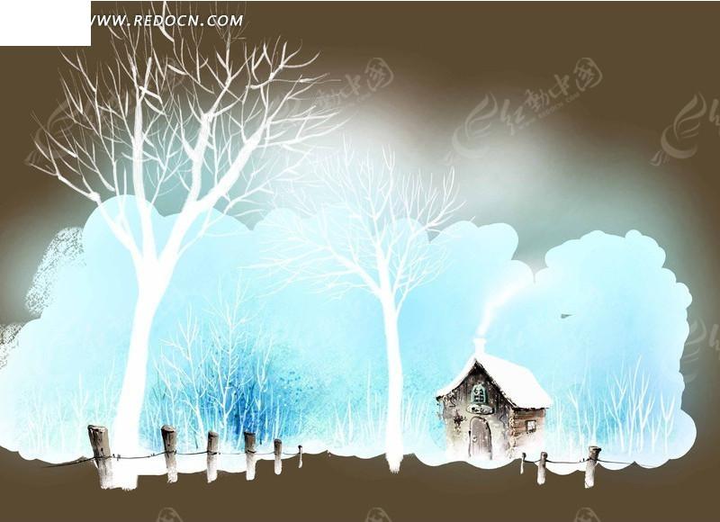 冬日小屋手绘插画