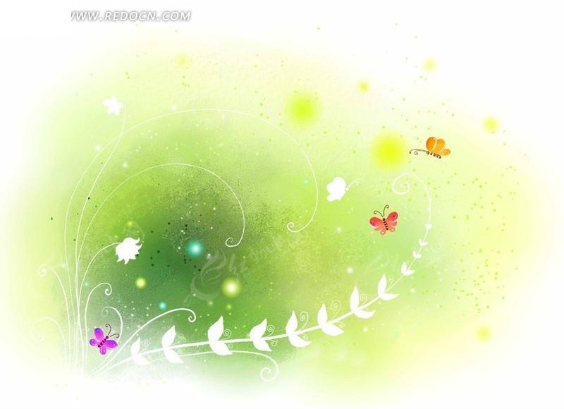 手绘草藤绿色背景图片