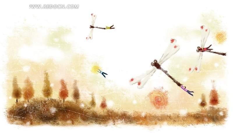 手绘水墨风格卡通画 蜻蜓飞舞