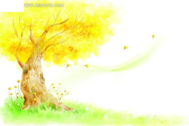 手绘插画风格草地上的一棵树psd