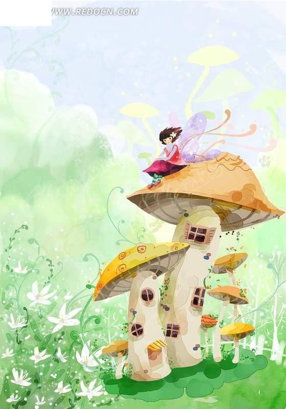 梦幻手绘蘑菇房子与花仙子