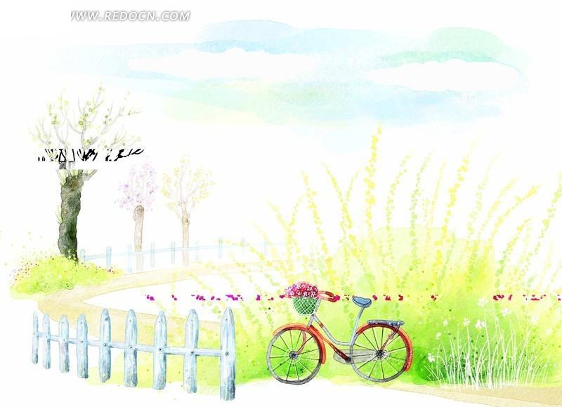 栅栏旁的自行车手绘psd素材