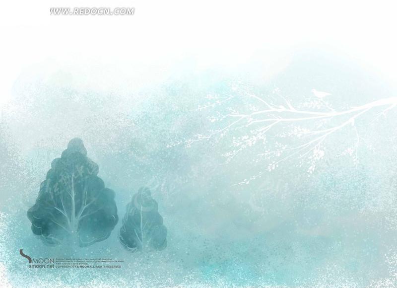 冬天风景 下雪 雪花 手绘冬天大树 插画 绿树 风景 树枝 树木简约