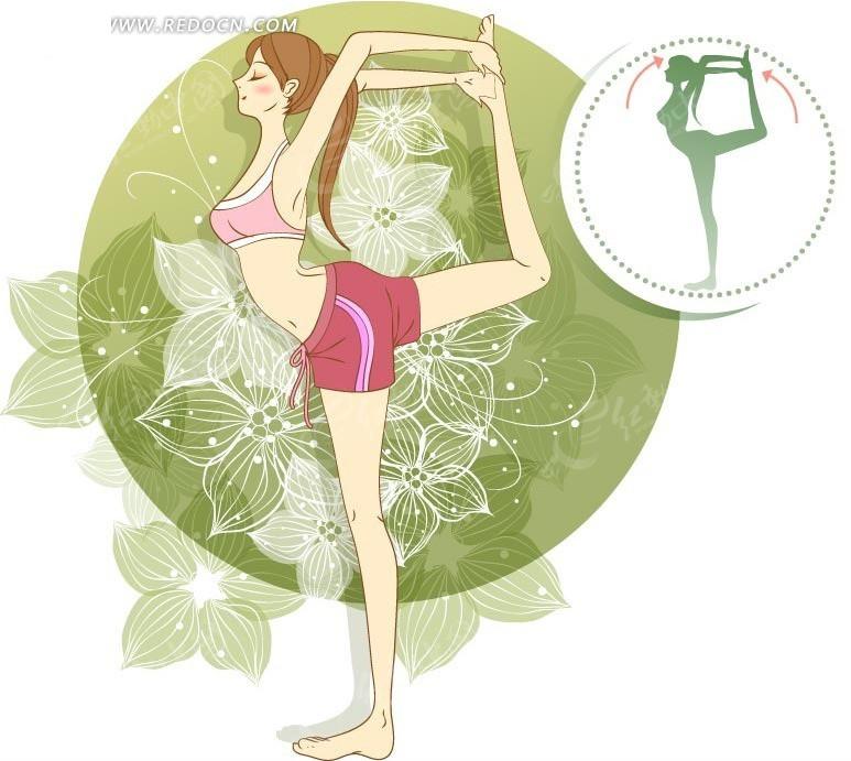 练瑜珈的卡通女孩