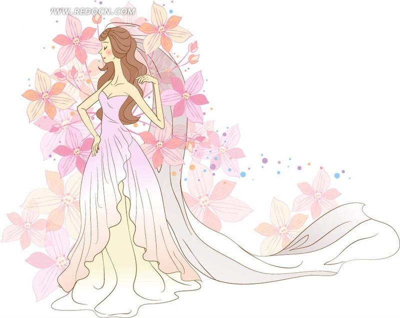 穿婚纱的女孩矢量素材