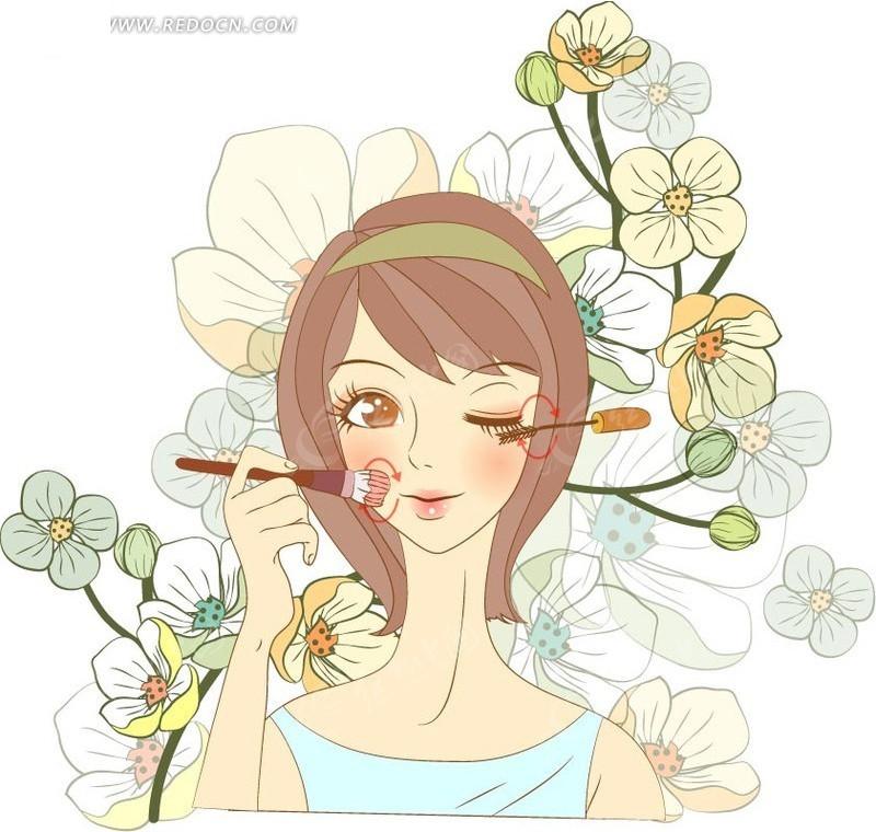 短发 花朵 卡通人物 卡通人物图片 漫画人物 人物素材 人物图片 矢量