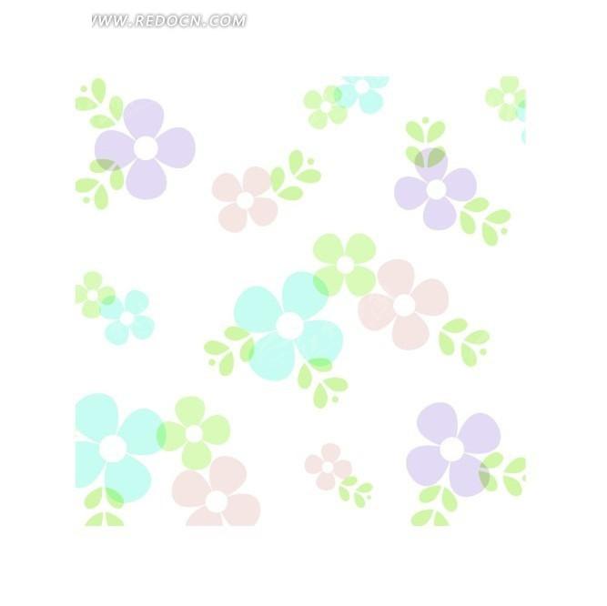四瓣花与绿叶背景素材AI免费下载 编号1238059 红动网