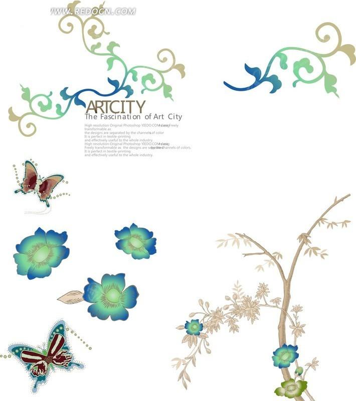 免费素材 矢量素材 花纹边框 底纹背景 简单的花草动物矢量素材