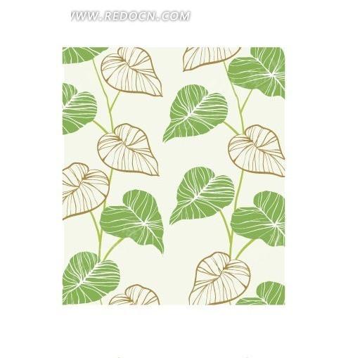 绿色手绘线描创意叶子背景素材