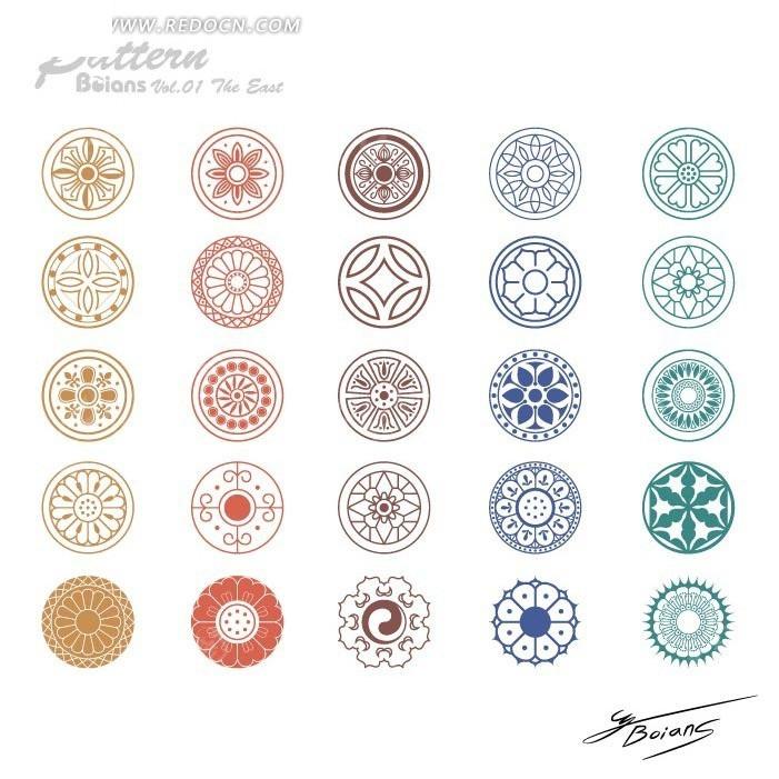 圆形传统纹理装饰花样矢量素材