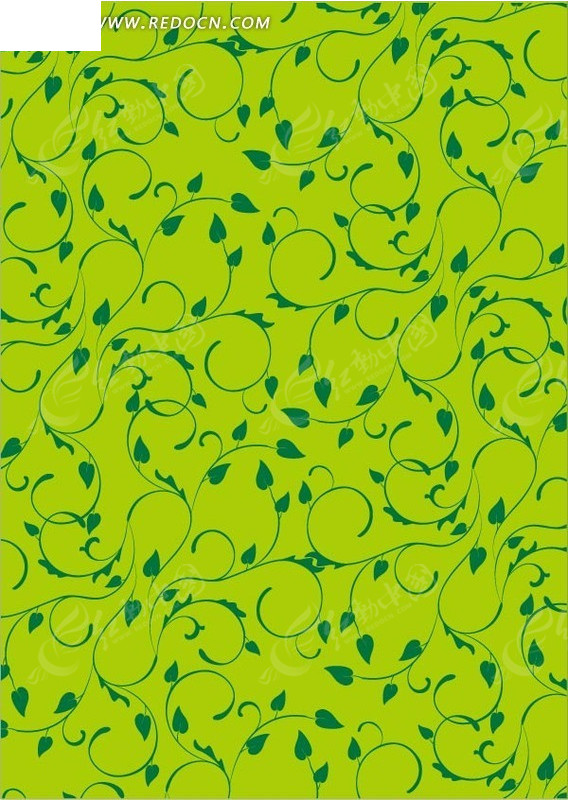 手绘绿色藤蔓蔷薇填充底纹