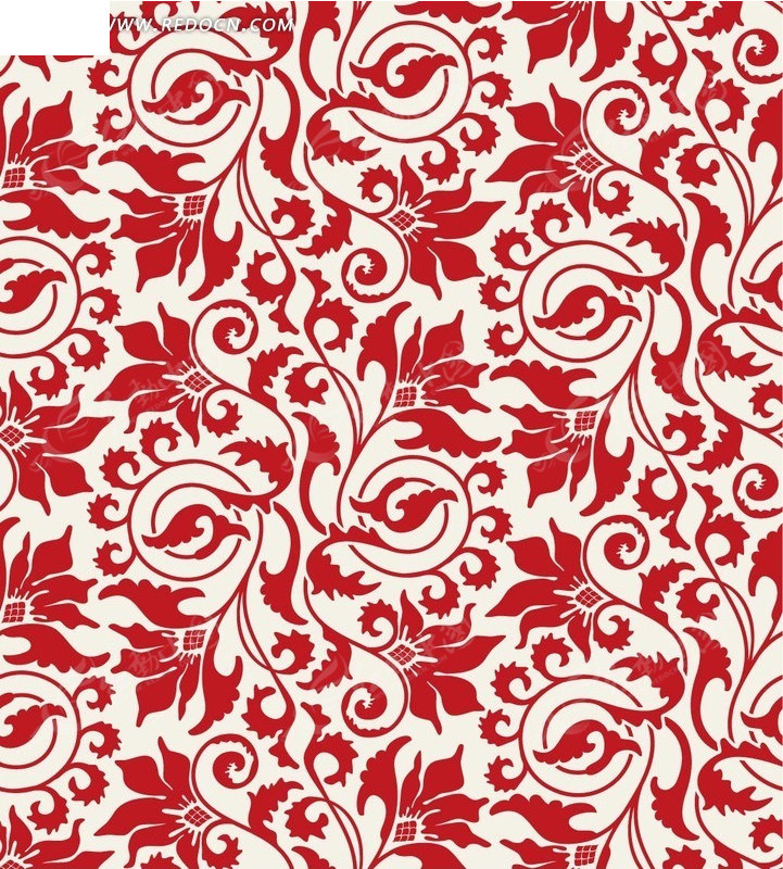 手绘红色藤蔓叶子底画背景