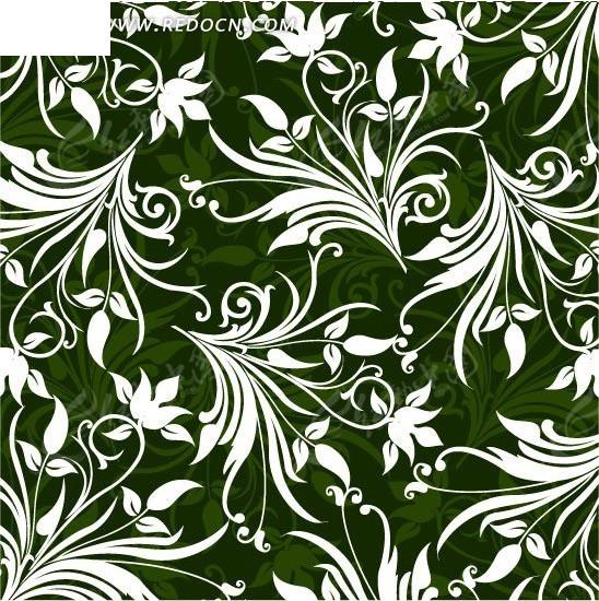 手绘绿色藤蔓花朵底画背景