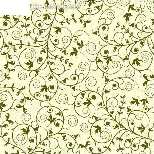 手绘绿色藤蔓底画