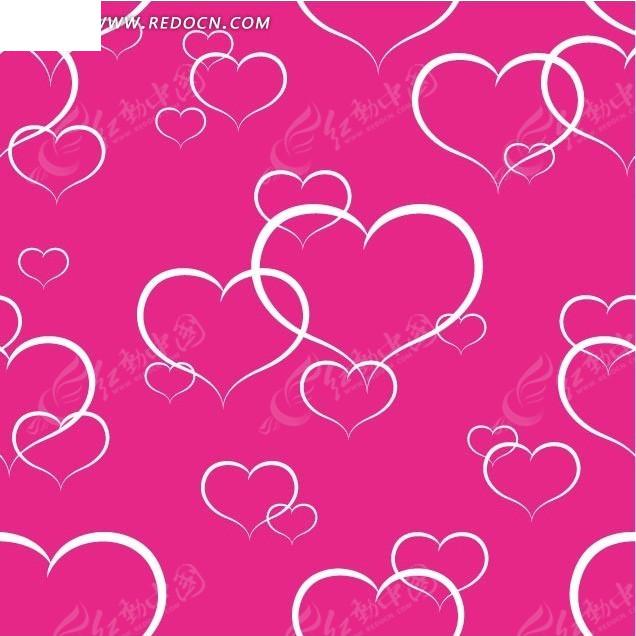手绘线条红心粉色背景图案