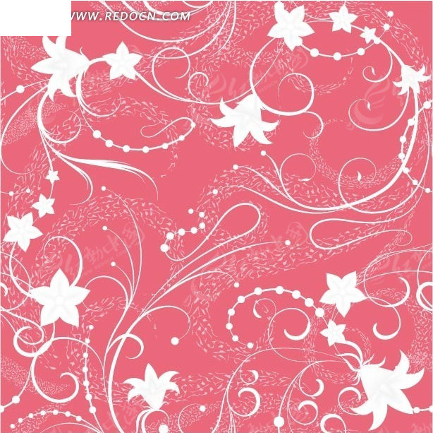 素材下载 矢量素材 花纹边框 花纹花边 > 花纹藤蔓手绘粉红背景图案