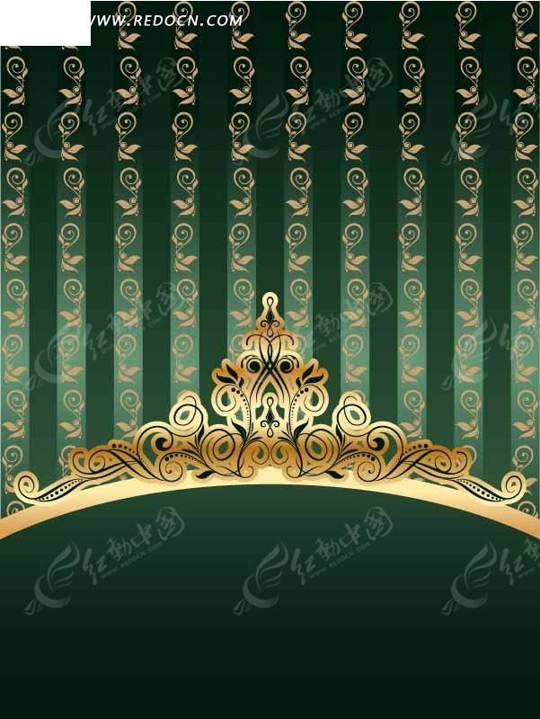 欧式皇冠丝带纹样矢量素材矢量图