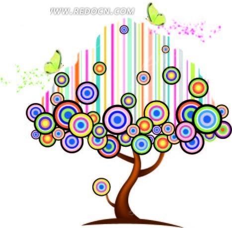 环形和竖纹构成的树冠的抽象树木