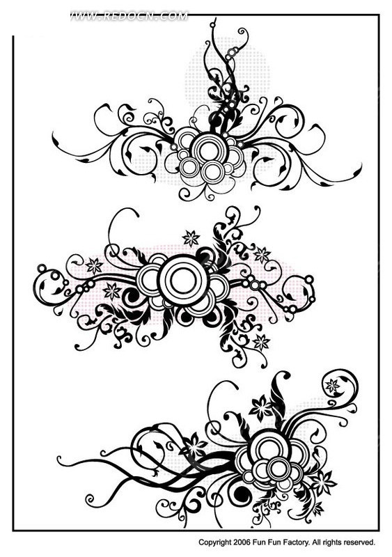 免费素材 矢量素材 花纹边框 花纹花边 时尚矢量手绘花纹藤蔓图案  请