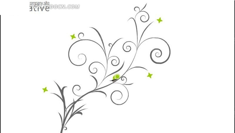 创意简约简笔线条树网页