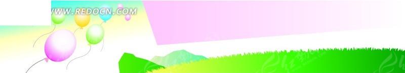 手绘空中飘的彩色气球矢量图_展板设计