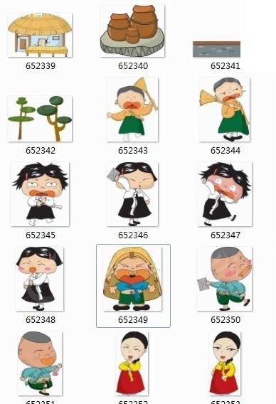 朝鲜族人物风情卡通画339-353图片