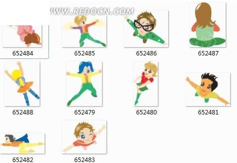 十個做不同動作的卡通人物圖片