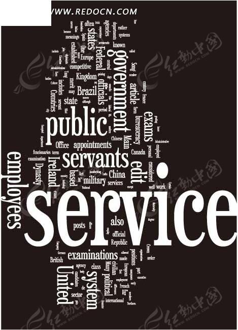 欧美创意纯文字排版服务主题网页设计模板图片