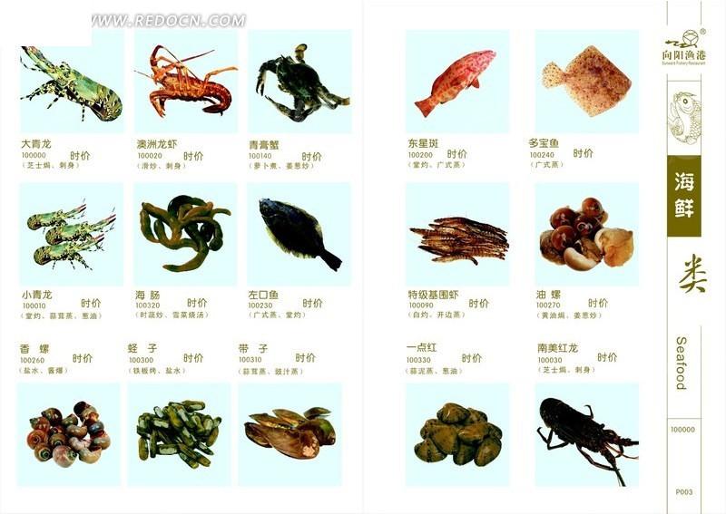 向阳渔港海鲜类菜单设计模板