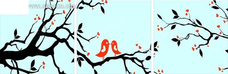 手绘爱情鸟无框装饰画