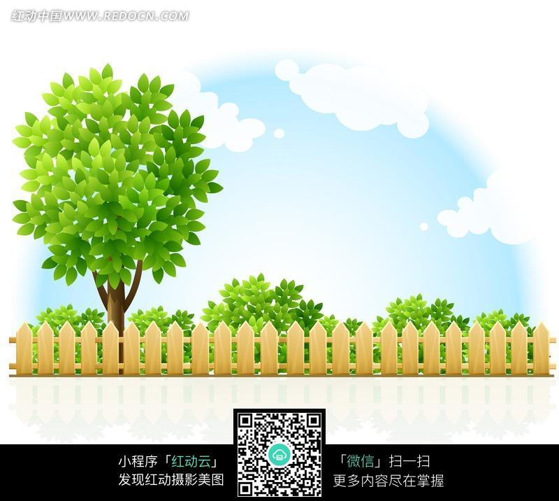 栅栏绿树风景图片