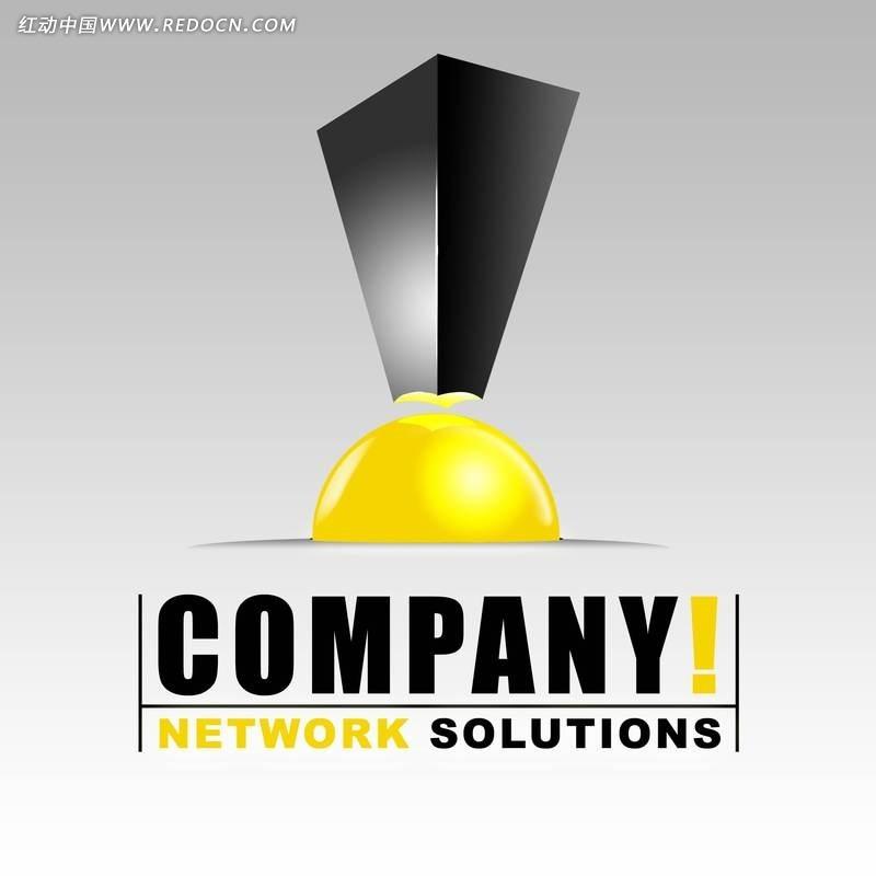 网络公司 logo  黑色 黄色 倒影 影子 企业 标识 创意设计 奖杯 饱满图片