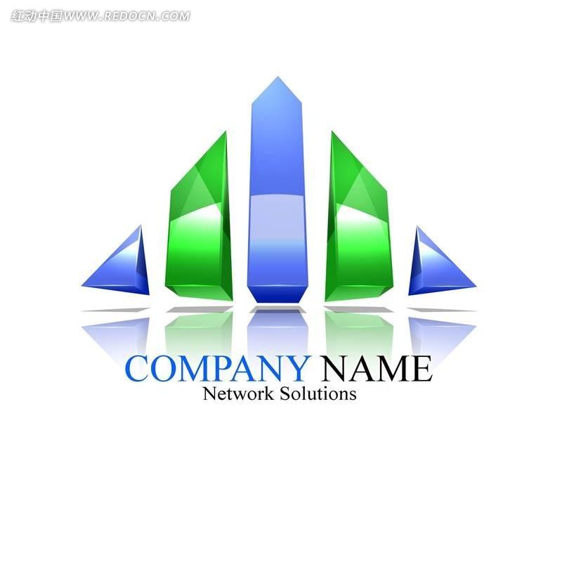 网络公司变形三角形创意形象标识设计psd素材