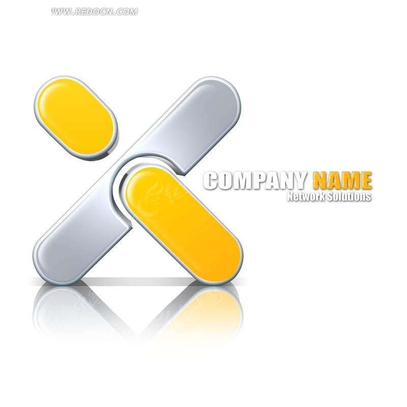 网络公司 logo 黄色 灰色 企业 标识 创意设计 标识设计  倒影 影子 x图片