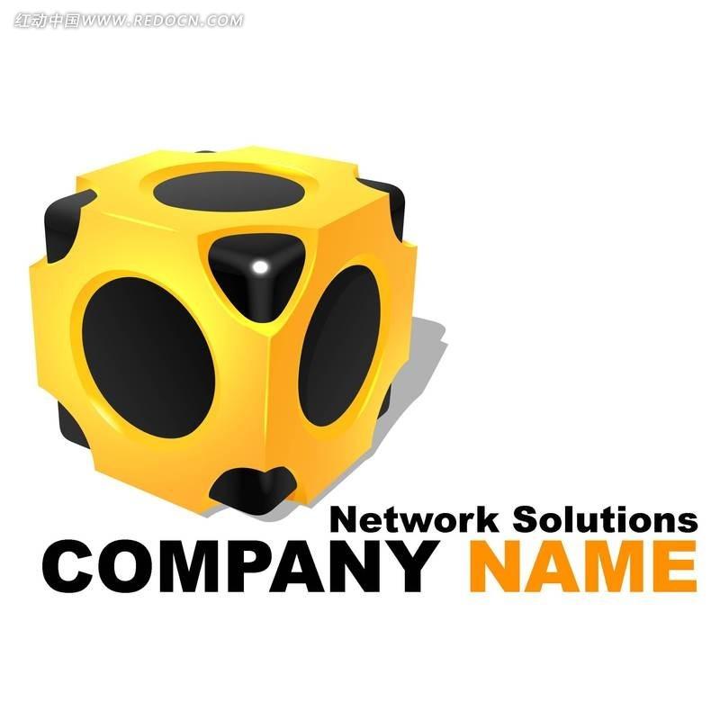 网络公司正方体创意形象标识设计素材图片