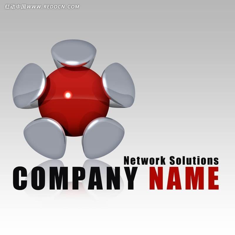 网络公司 logo 红色 灰色 企业 标识 创意设计 倒影 影子 环抱 饱满图片