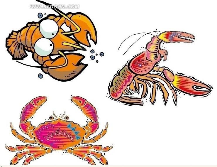 卡通龙虾 大龙虾 卡通 海底动物 美味 大龙虾矢量图 螃蟹 卡通螃蟹
