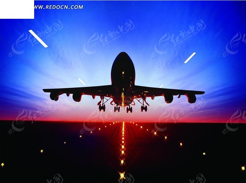 傍晚飞机起飞跑道效果图psd免费下载