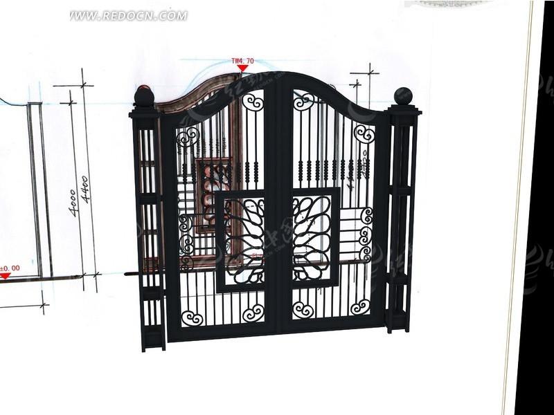 6#围墙铁艺门_建筑模型图片