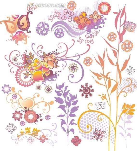 各种手绘彩色时尚植物花卉藤蔓图案