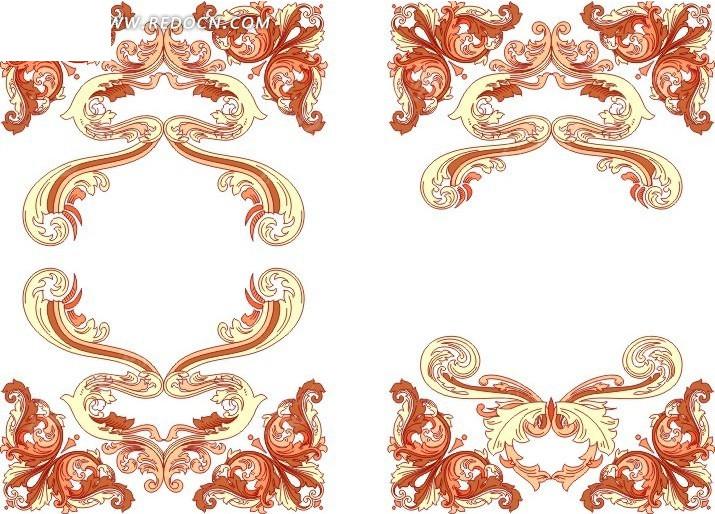 免费素材 矢量素材 花纹边框 花纹花边 手绘古典装饰花纹  请您分享