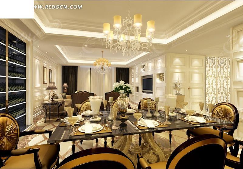 西式 豪华餐厅 室内 装修设计效果 图 编号 13256 高清图片